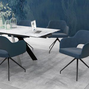 chaise chicago assise pivotante bleu mélange tissus et polyuréthane