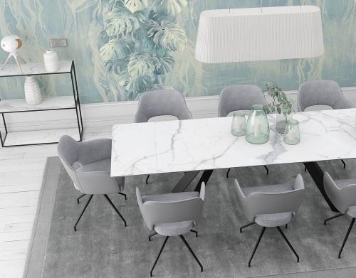 chaise chicago assise pivotante gris mélange tissus et polyuréthane